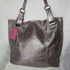 B. Makowsky Silver Metallic Leather Tote Purse